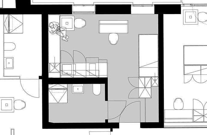 1er-Apartment Grundriss Variante 1