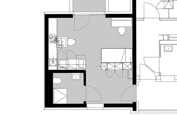 1er-Apartment Grundriss Variante 2
